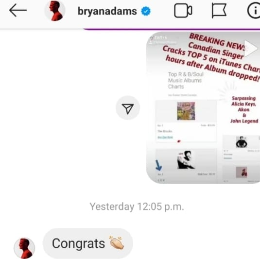Wow!!! Canadian Icon Legend, Bryan Adams Congratulates fellow,  Canadian Artist Luv for reaching #2 on the R&B Soul Itunes Chart